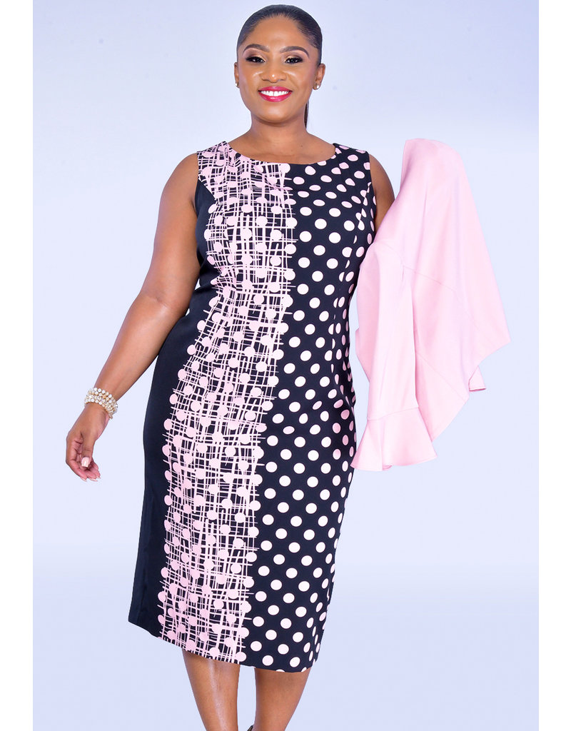 PATA- Plus Size Polka Dot Dress and Jacket Combo