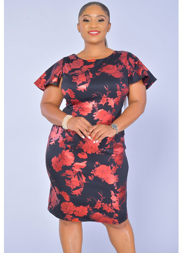 JM Studio UDANA-Printed Short Sleeve Dress