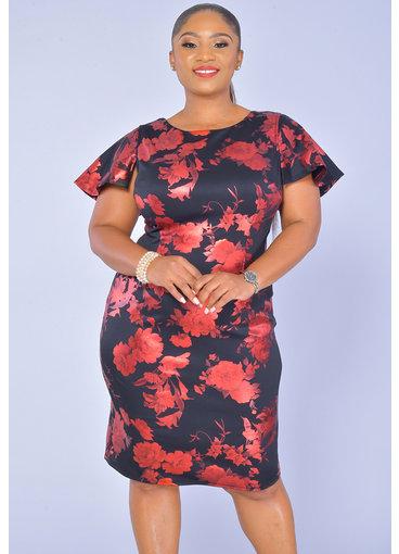 JM Studio UDANA-Printed Short Sleeve Dress