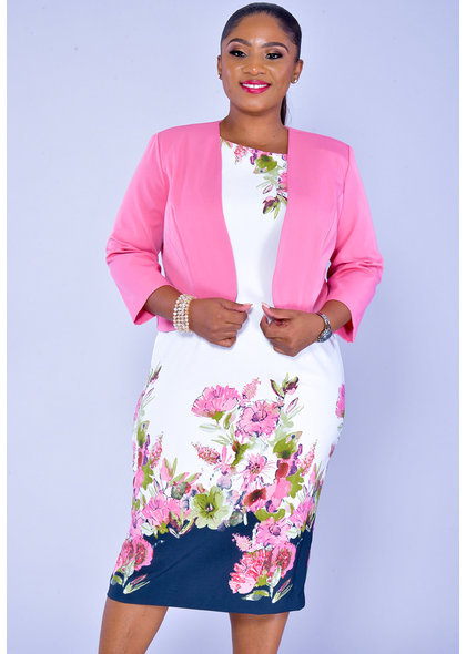 PATRICA- Floral Print Dress with Jacket