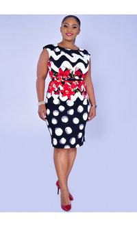 RODERIGA- Mix Pattern Dress with Thin Belt