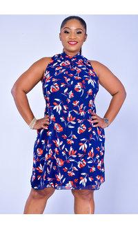 Signature FLAVIA- Contemporary Print High Neckline Dress