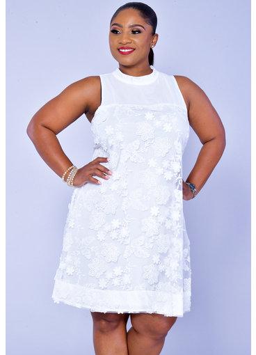 Signature FRITTA- Chiffon Overlay High Neckline Dress