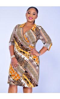 GLAMOUR IANN-Printed Three Quarter Sleeve Faux Wrap Dress