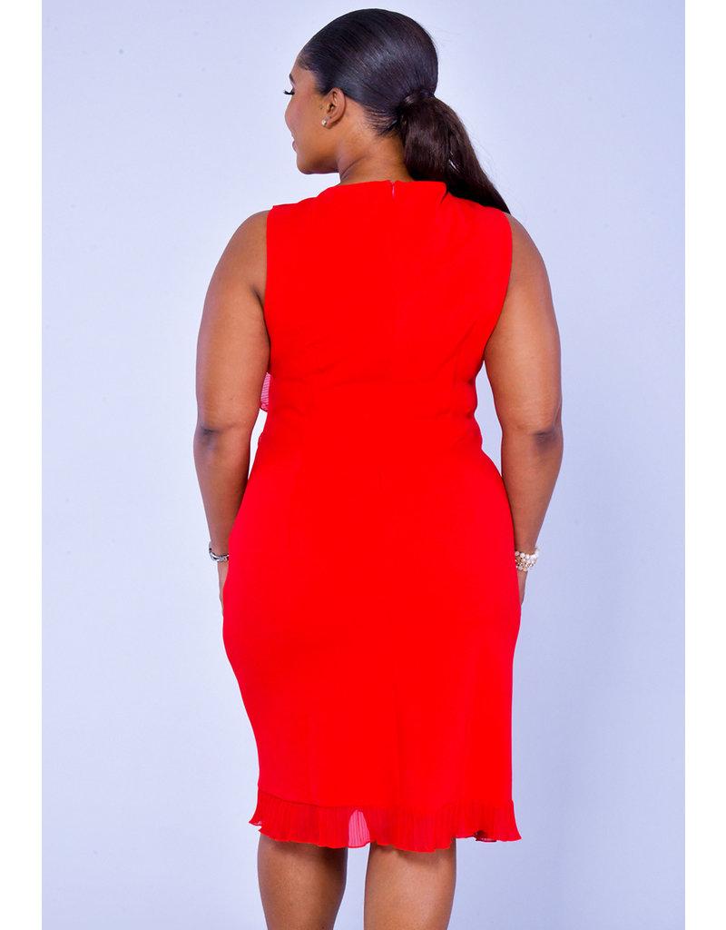 GLAMOUR RIEH-Pleated Trim Dress