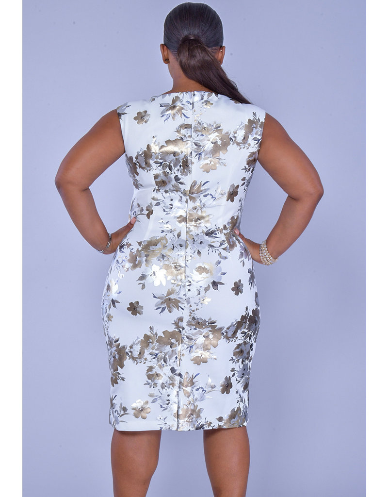 GLAMOUR UTARIA-Metallic Print Floral Dress