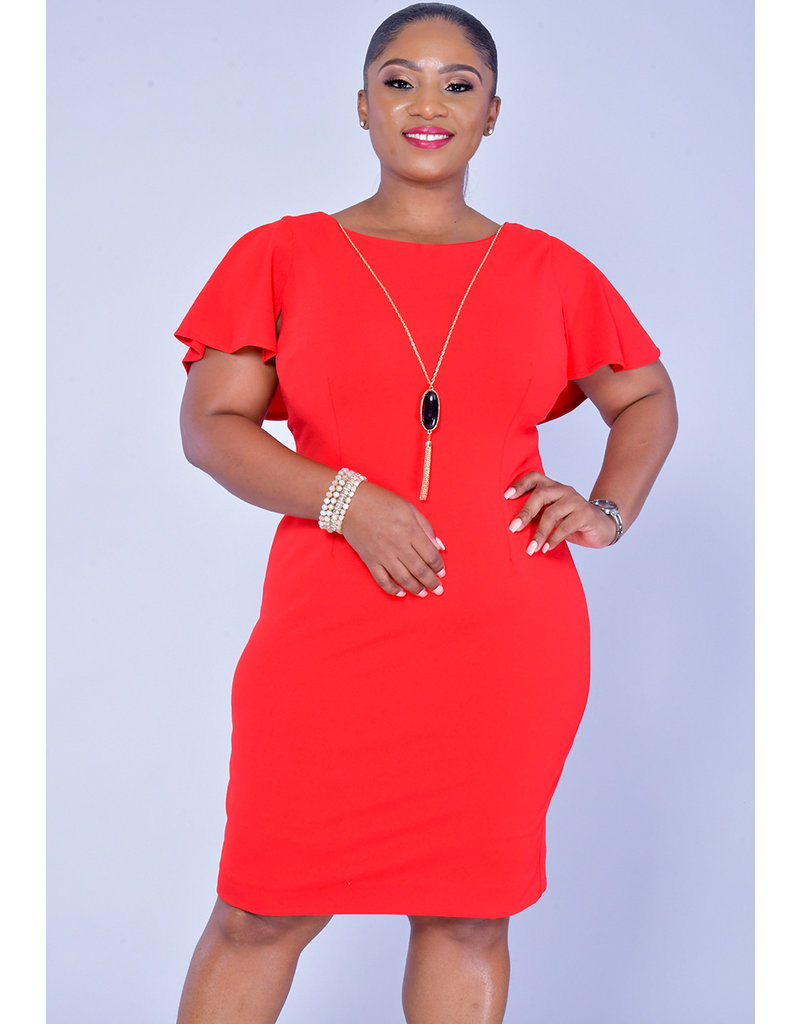 GLAMOUR RAYLA-Floating Sleeve Dress with Necklace