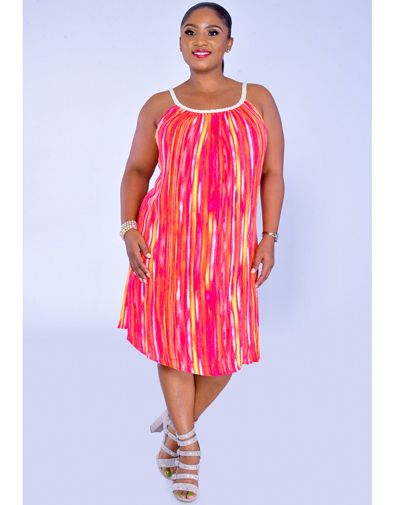 Nina Leonard GERI-Print Dress with Plaited Straps