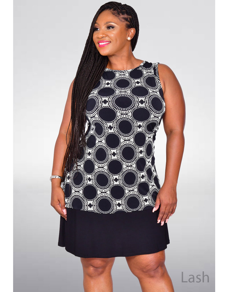 IASH- Sleeveless Print Dress with Solid Trim