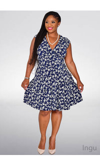 Signature INGU- Printed Ruffle Dress