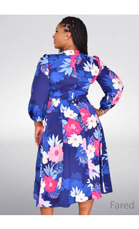 Eliza J FARED- Printed Full Sleeve Fit and Flare Dress
