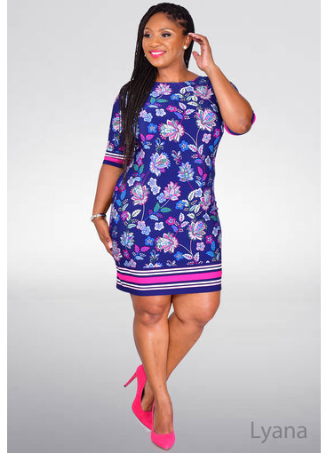Eliza J IYANA- Printed Three Quarter Sleeve Dress