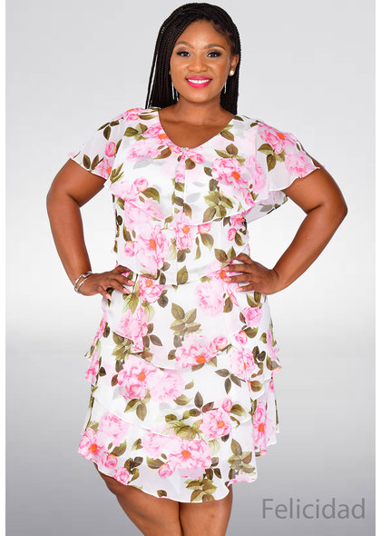 FELICIDAD- Floral Layered Dress with Broach