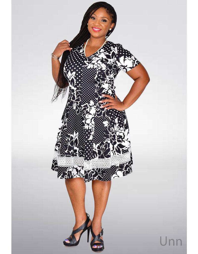 Signature UNN- Printed Short Sleeve Fit & Flare Dress