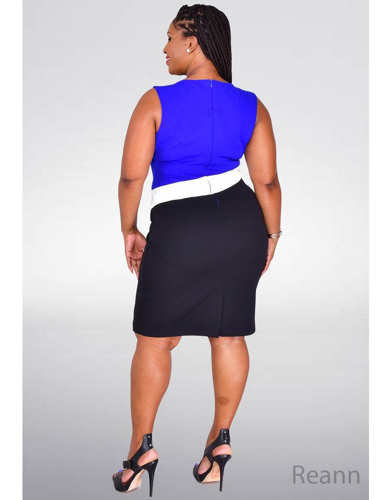 GLAMOUR REANN- Sleeveless Colour Block Dress