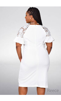 REECE- Round Neck Lace Bell Sleeve Dress