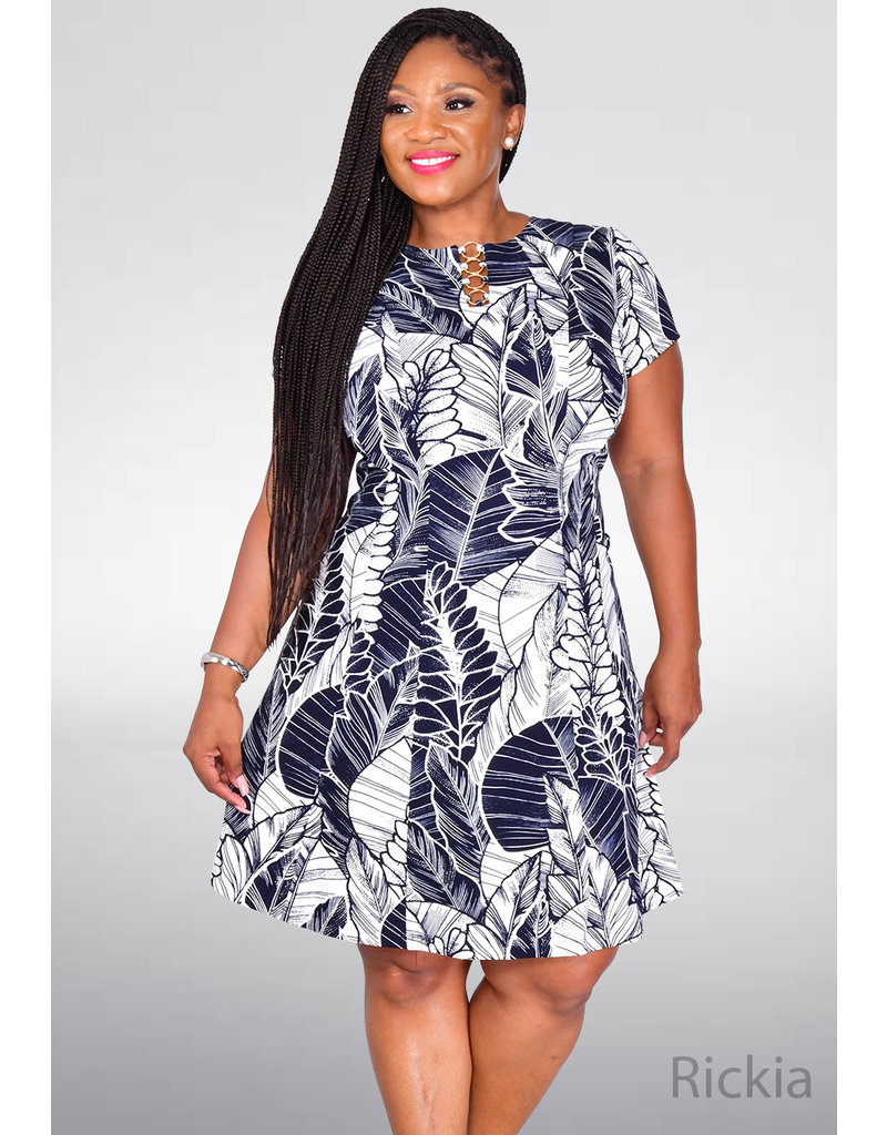 RICKIA- Printed Dress with Ring Key Hole Accent