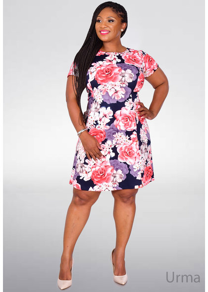 URMA- Floral Print Fit and Flare Dress