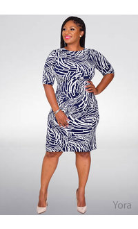 YORA- Geometric Faux Wrap Dress