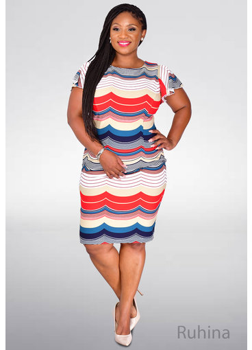 RUHINA- Striped Flutter Sleeve Dress