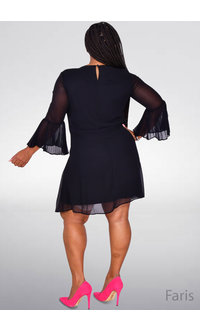 Sandra Darren FARIS- Pleated Bell Sleeve Dress