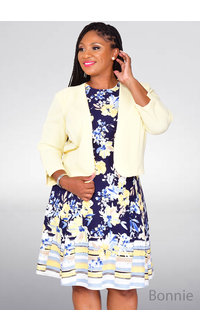 Studio One BONNIE- Printed Fit & Flare Dress with Jacket
