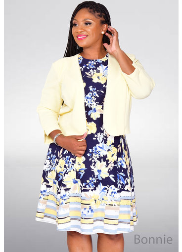 Studio 1 BONNIE- Printed Fit & Flare Dress with Jacket