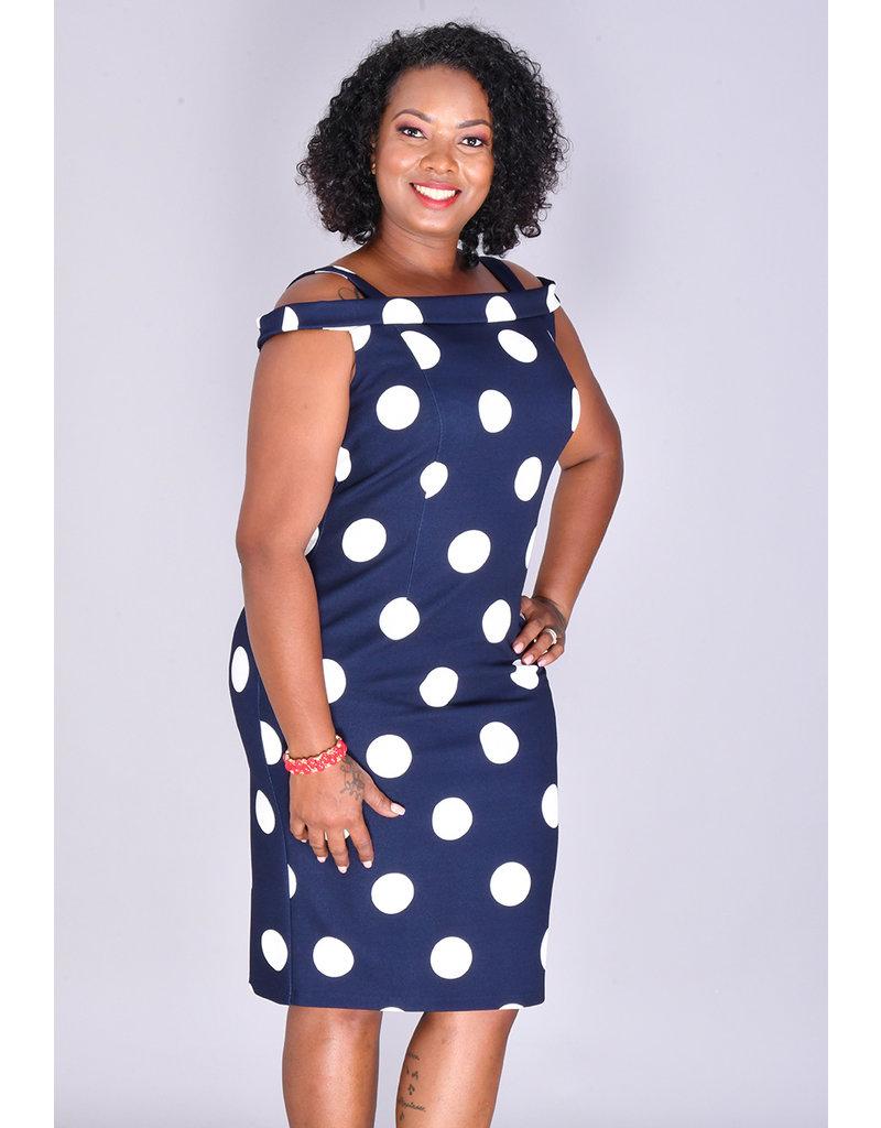 REINA- Off The Shoulder Polka Dot Dress