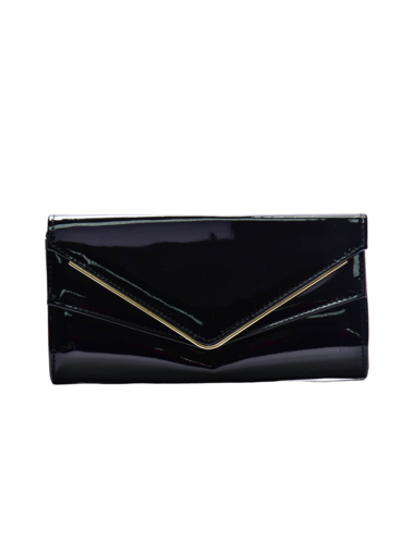 KMQ Glossy Double Flap Clutch