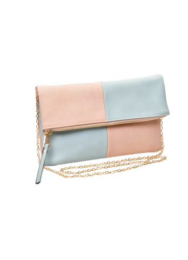 Color Block Fold-over Clutch Bag