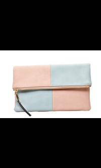 Color Block Fold-over Clutch Bag