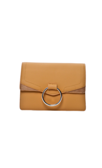 vSnake Skin Bag with Circular Metal on Flap
