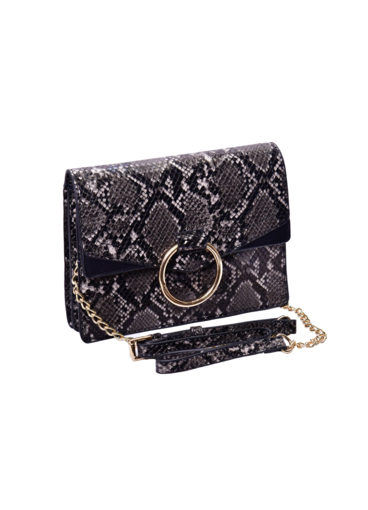 Snake Skin Bag with Circular Metal on Flap