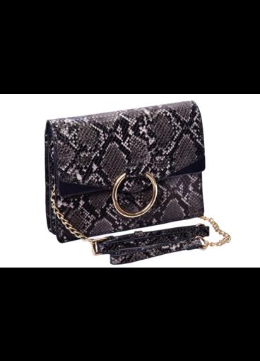 Snake Skin Bag with Circular Metal on Flap