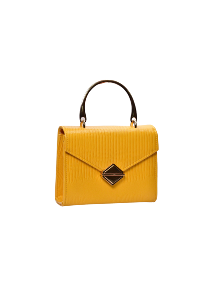 KMQ Casual Bag with V Flap Metal Handle
