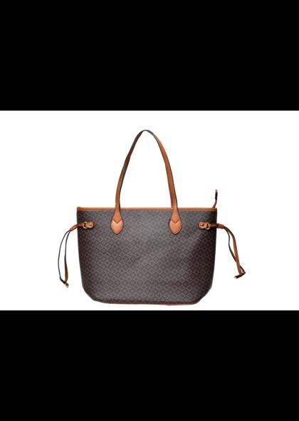 KMQ Big Printed Hand Bag with Zipper