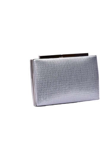 just fantastic Small Squares Shimmer Clutch with Metal Closure