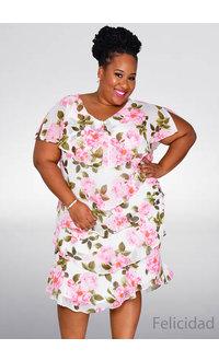 FELICIDAD- Plus Size Floral Print Shutter Dress