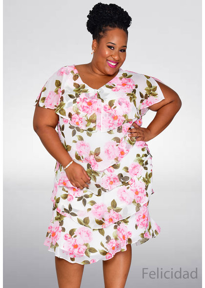 FELICIDAD- Plus Size Floral Print Shutter Dress