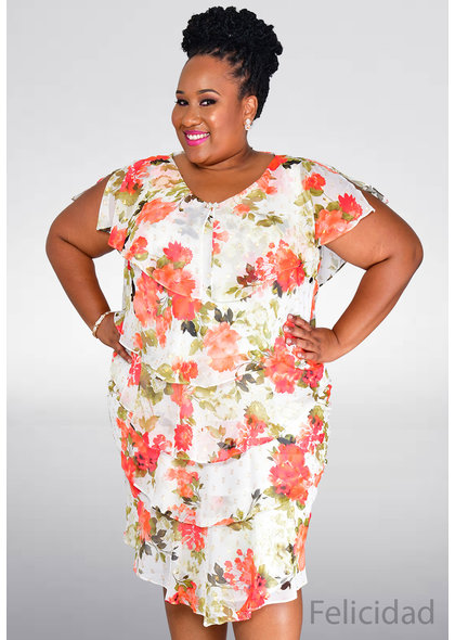 FELICIDAD- Plus Size V-Neck Floral Print Shutter Dress