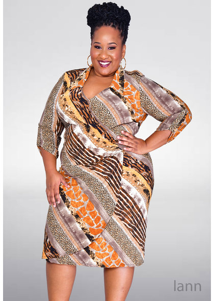 GLAMOUR IANN-Plus Size Printed Three Quarter Sleeve Faux Wrap Dress