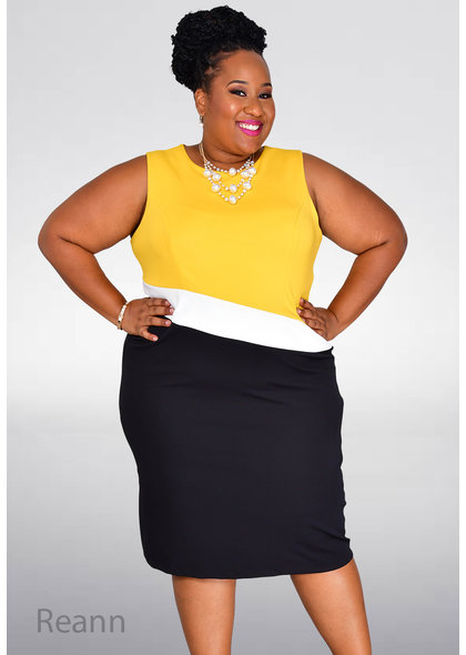 GLAMOUR REANN- Plus Size Colour Block Dress