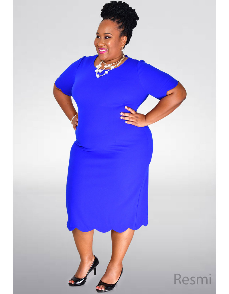GLAMOUR RESMI- Plus Size Petal Cut Dress