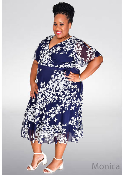 Jessica Howard MONICA- Plus Size Floral Dress with Sash