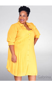MLLE Gabrielle GABRINA- Plus Size 3/4 Elastic Sleeve Dress with Collar