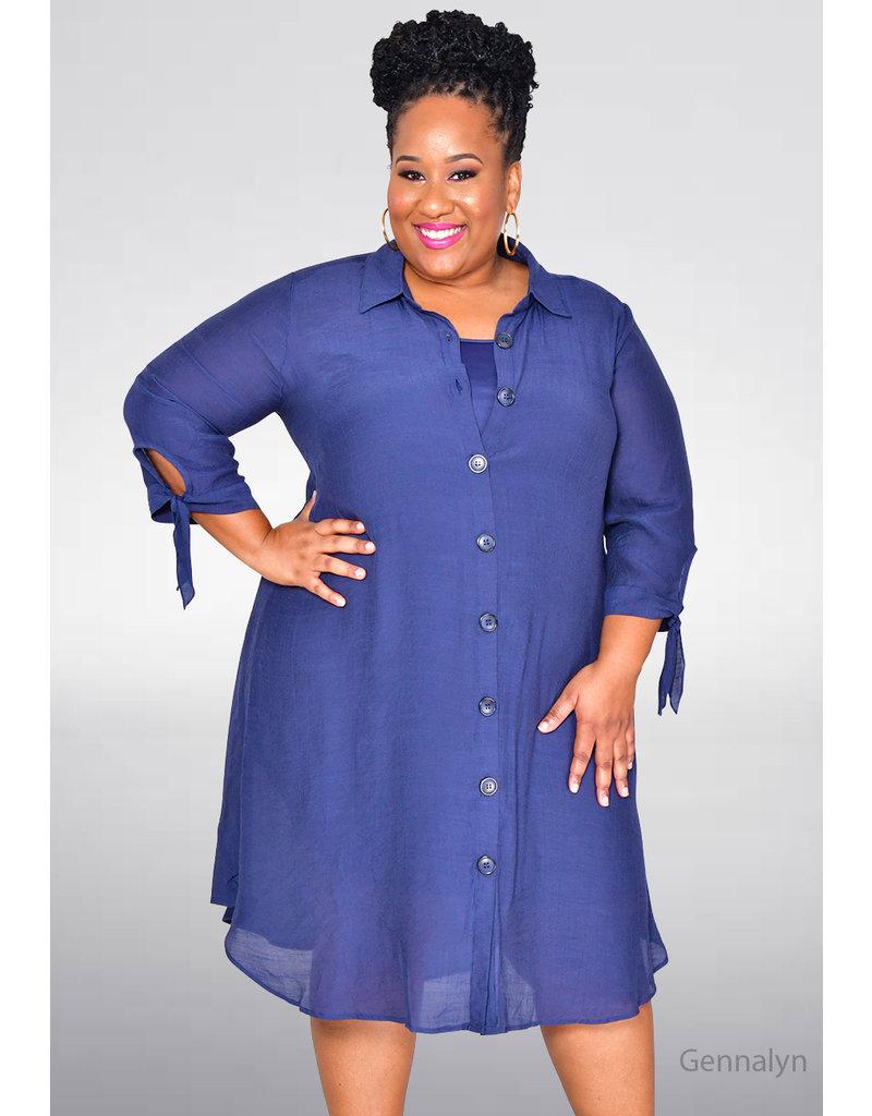 MLLE Gabrielle GENNALYN- Solid 3/4 Sleeve Shirt Dress