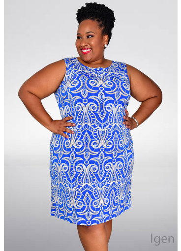 IGEN- Plus Size Printed Sleeveless Dress
