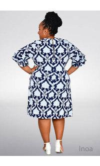 INOA- Plus Size Puff Print Dress with Ruffle Sleeve