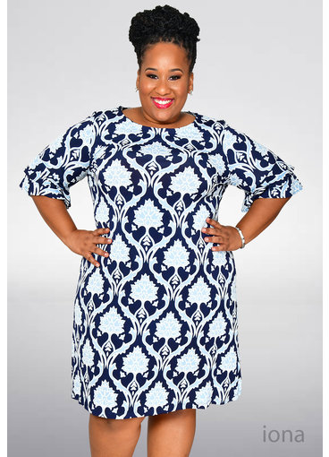 INOA- Plus Size Puff Print Dress with Ruffle Sleeve
