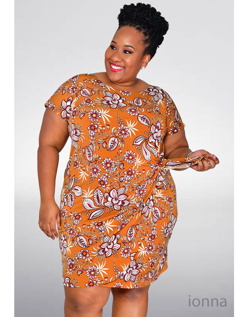 Signature IONNA- Plus Size Floral Puff Print Cap Sleeve Dress